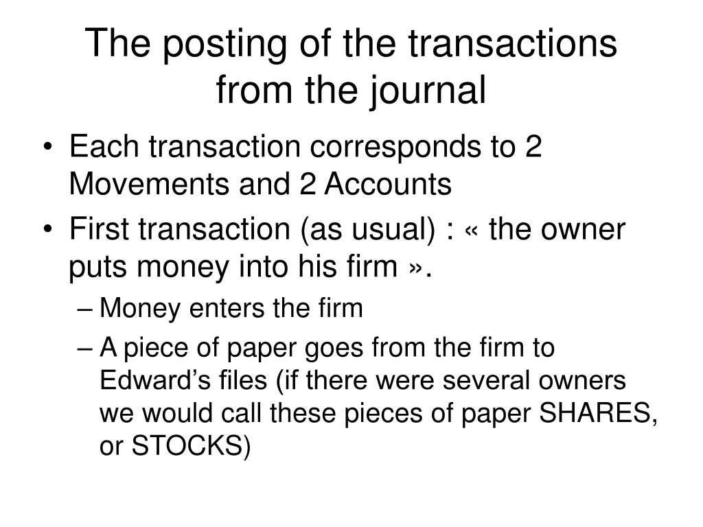 The posting of the transactions from the journal