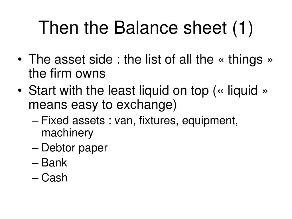 Then the Balance sheet (1)