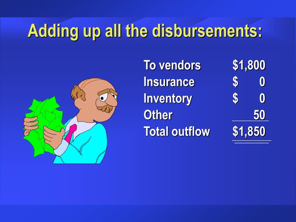 Adding up all the disbursements: