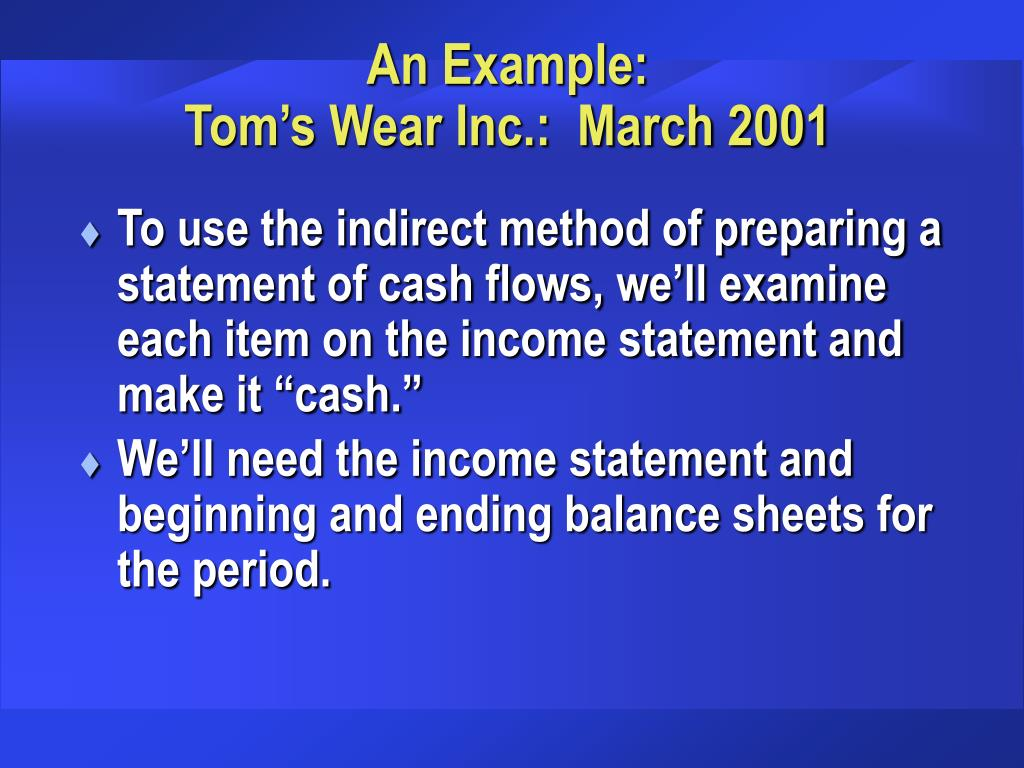 An Example:                                       Tom's Wear Inc.:  March 2001