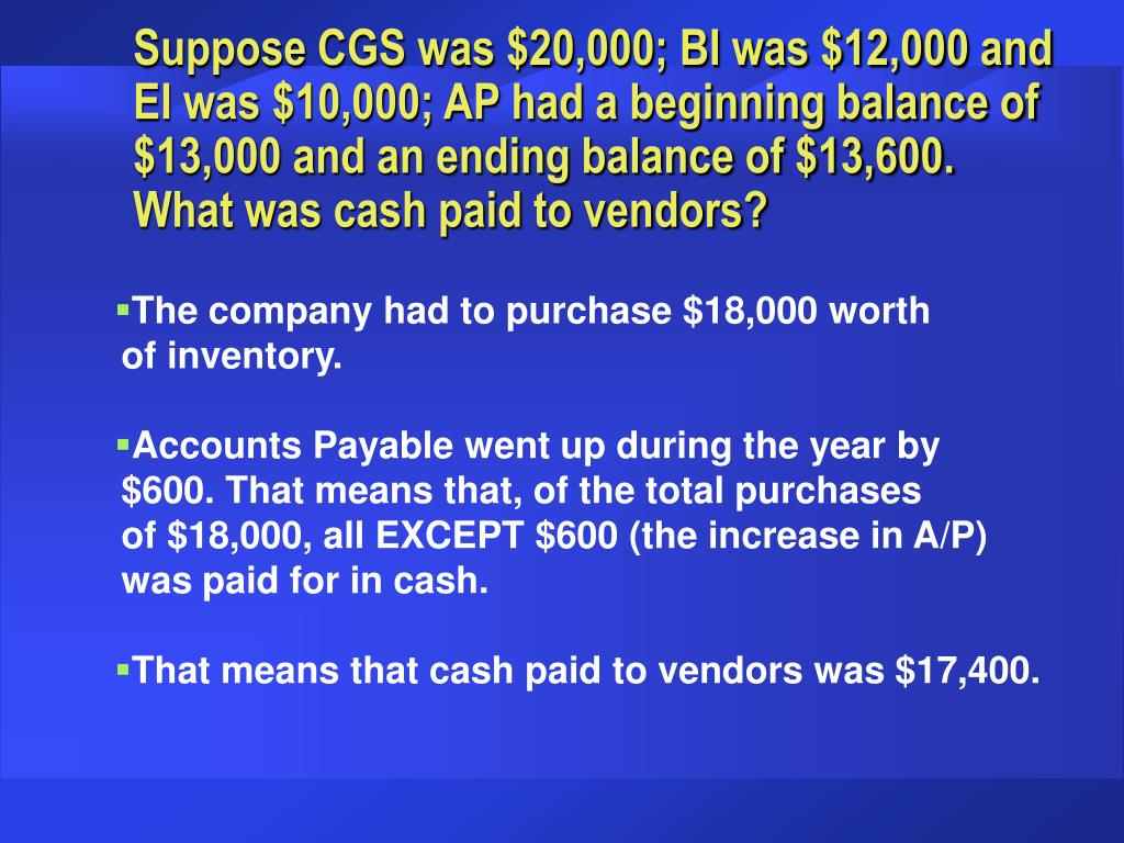 Suppose CGS was $20,000; BI was $12,000 and EI was $10,000; AP had a beginning balance of $13,000 and an ending balance of $13,600.  What was cash paid to vendors?