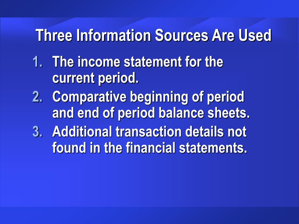Three Information Sources Are Used
