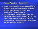tom s wear inc march 200152