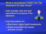 what is considered cash for the statement of cash flows