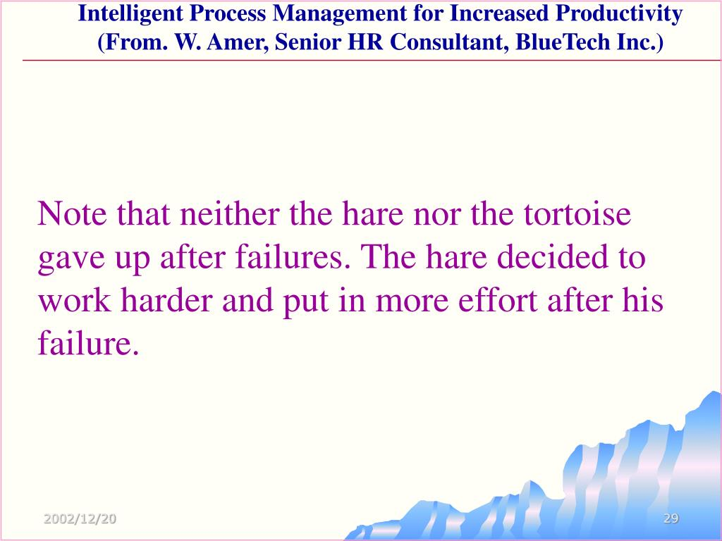 Note that neither the hare nor the tortoise gave up after failures. The hare decided to work harder and put in more effort after his failure.