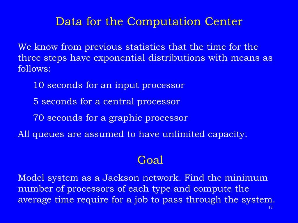 Data for the Computation Center
