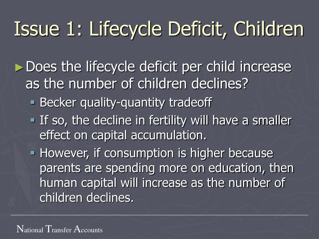 Issue 1: Lifecycle Deficit, Children