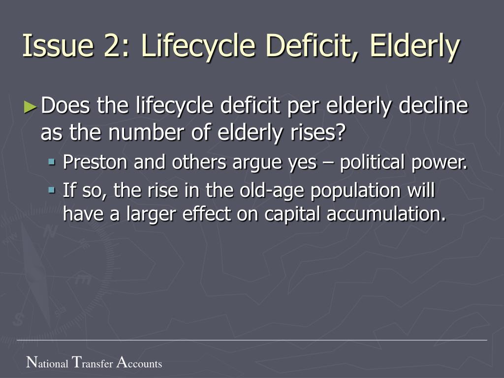 Issue 2: Lifecycle Deficit, Elderly