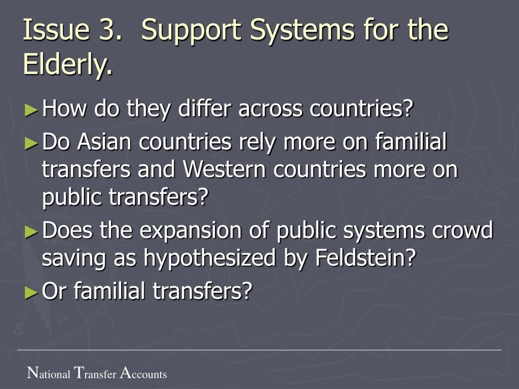 Issue 3.  Support Systems for the Elderly.