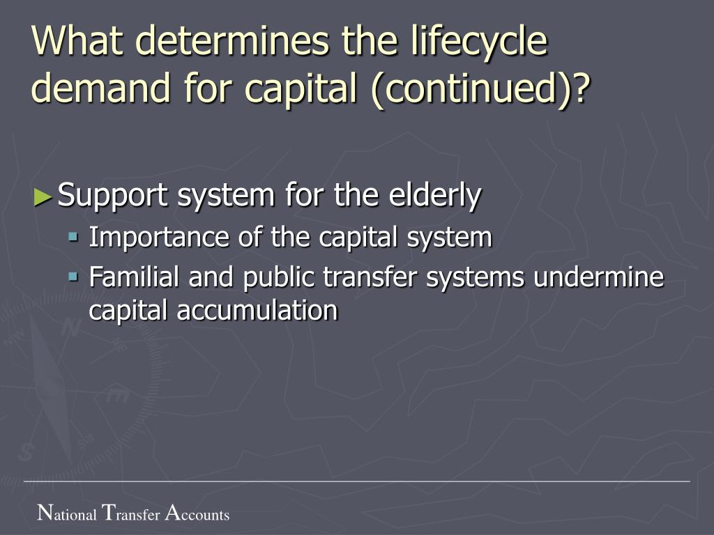 What determines the lifecycle demand for capital (continued)?
