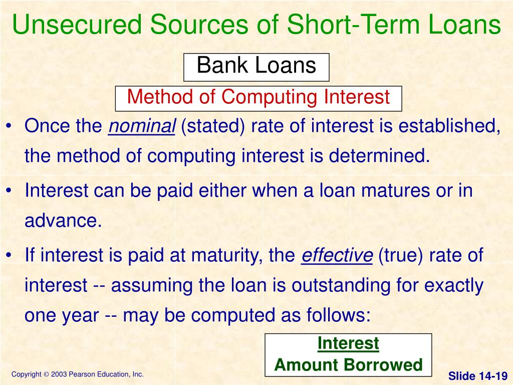 Unsecured Sources of Short-Term Loans