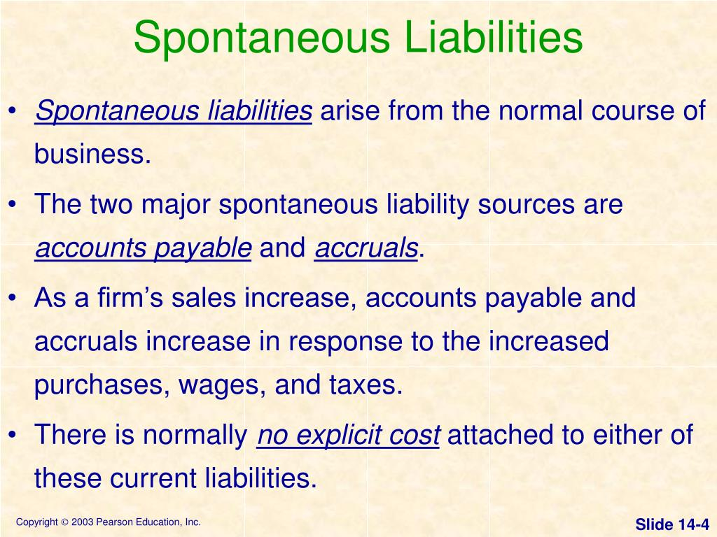 Spontaneous Liabilities