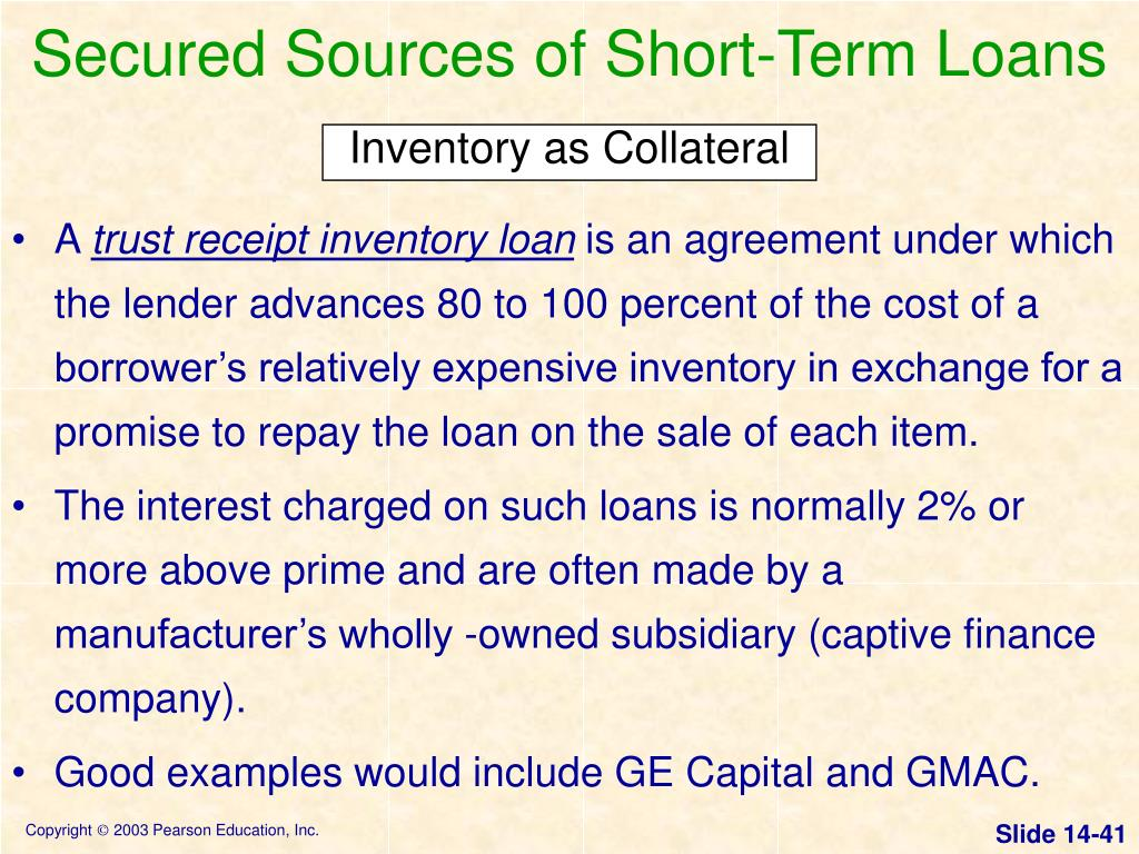 Secured Sources of Short-Term Loans