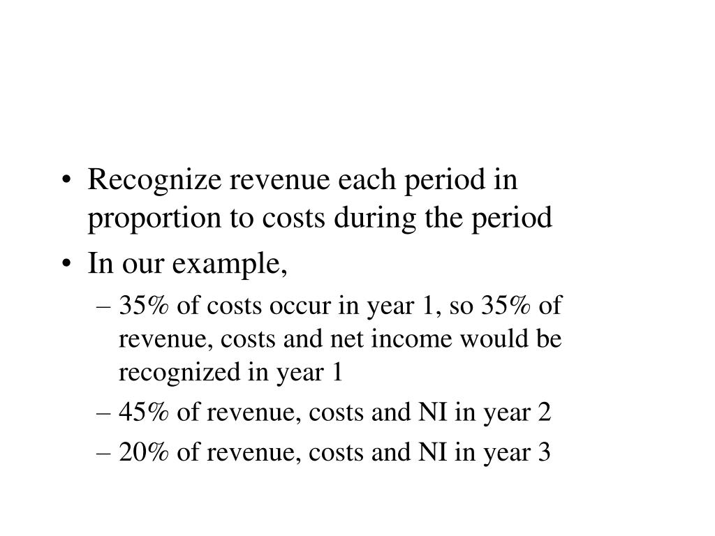 Recognize revenue each period in proportion to costs during the period