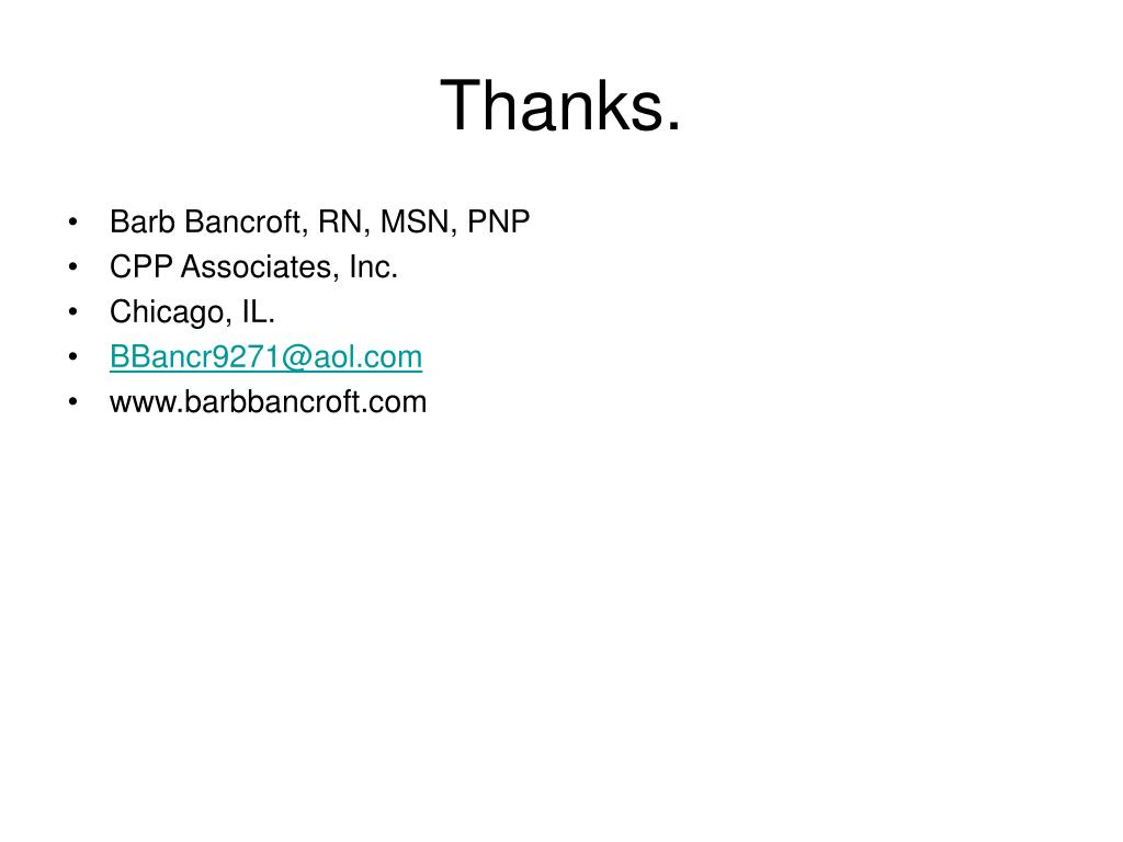 Barb Bancroft, RN, MSN, PNP