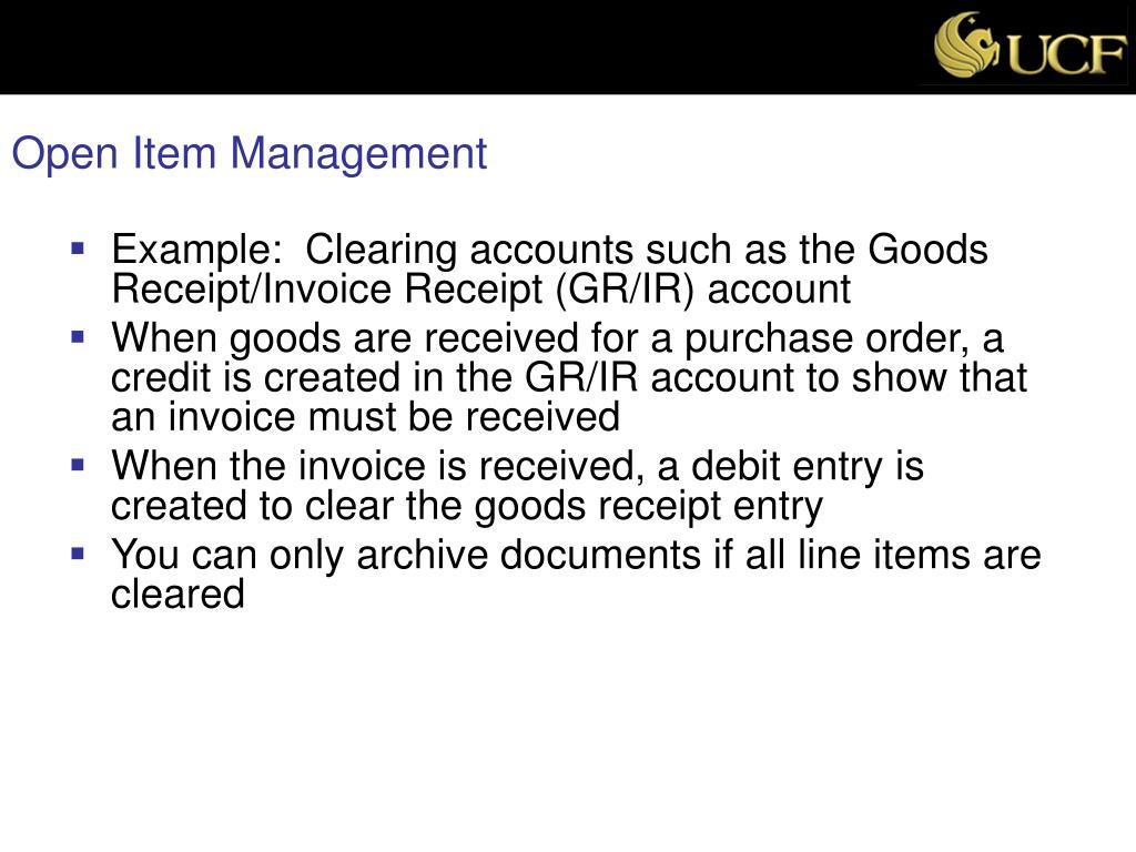 Open Item Management