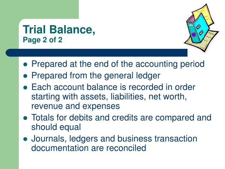 Trial Balance,
