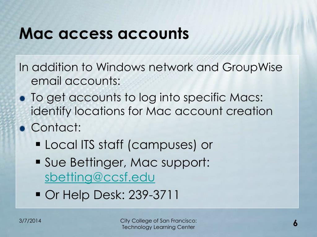 Mac access accounts
