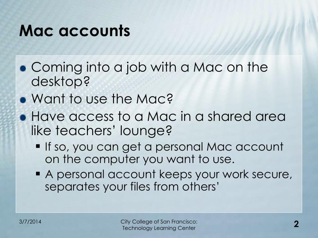 Mac accounts