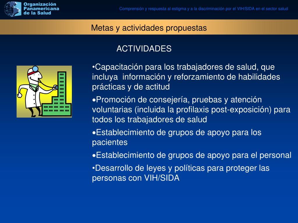 Metas y actividades propuestas