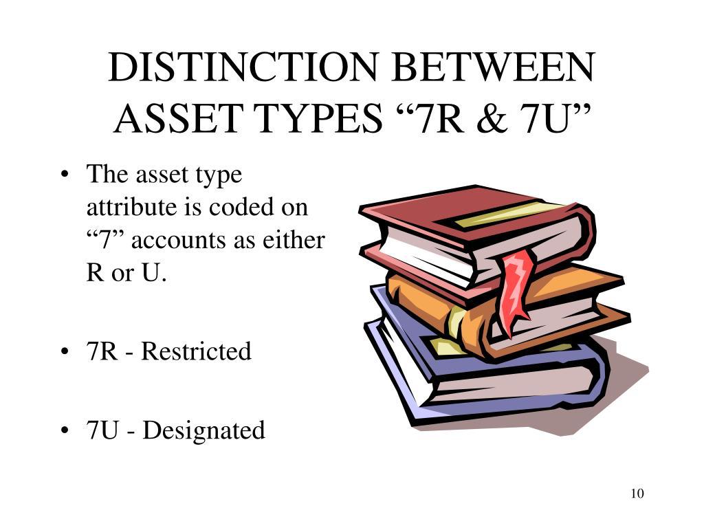 "DISTINCTION BETWEEN ASSET TYPES ""7R & 7U"""