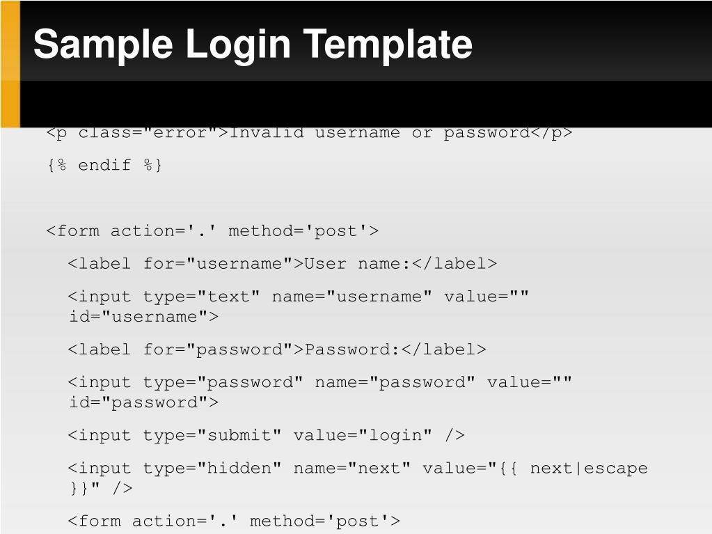 Sample Login Template