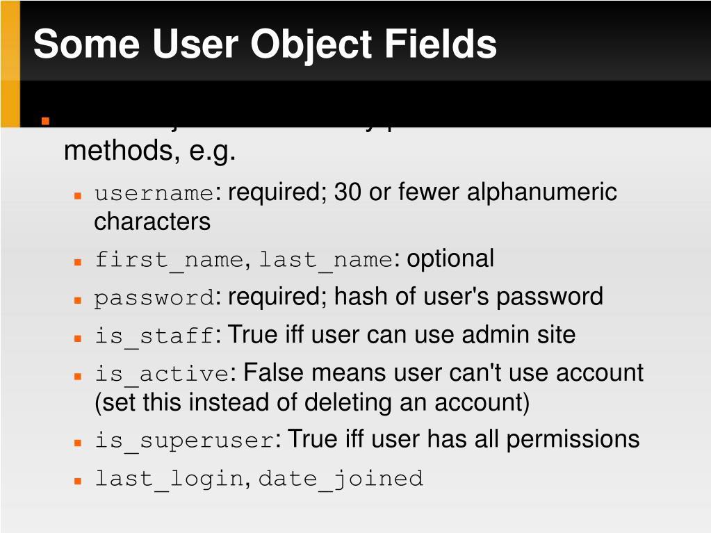 Some User Object Fields