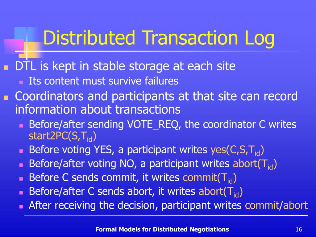 Distributed Transaction Log