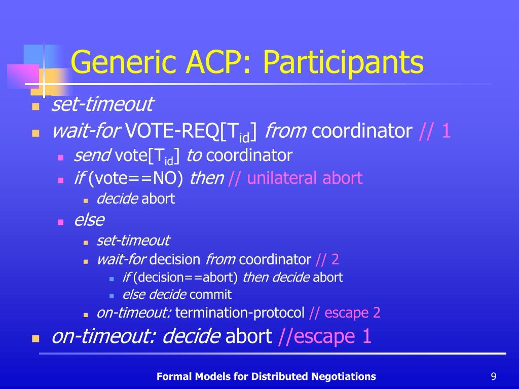 Generic ACP: Participants