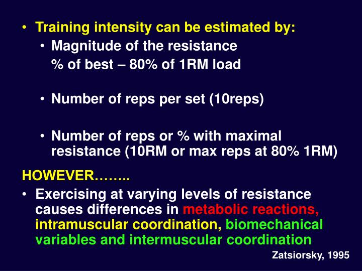 Training intensity can be estimated by: