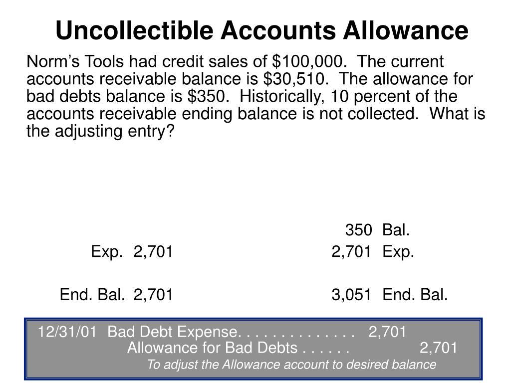 12/31/01Bad Debt Expense. . . . . . . . . . . . . .2,701Allowance for Bad Debts . . . . . .2,701