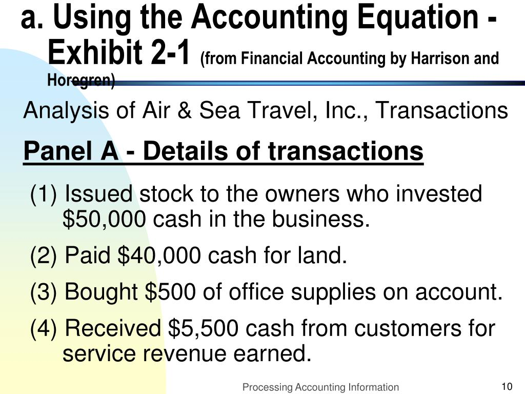 a. Using the Accounting Equation - Exhibit 2-1