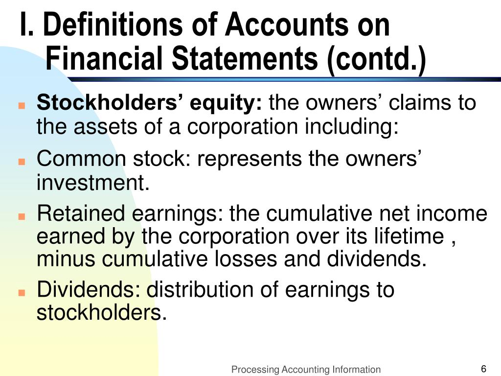 I. Definitions of Accounts on Financial Statements (contd.)