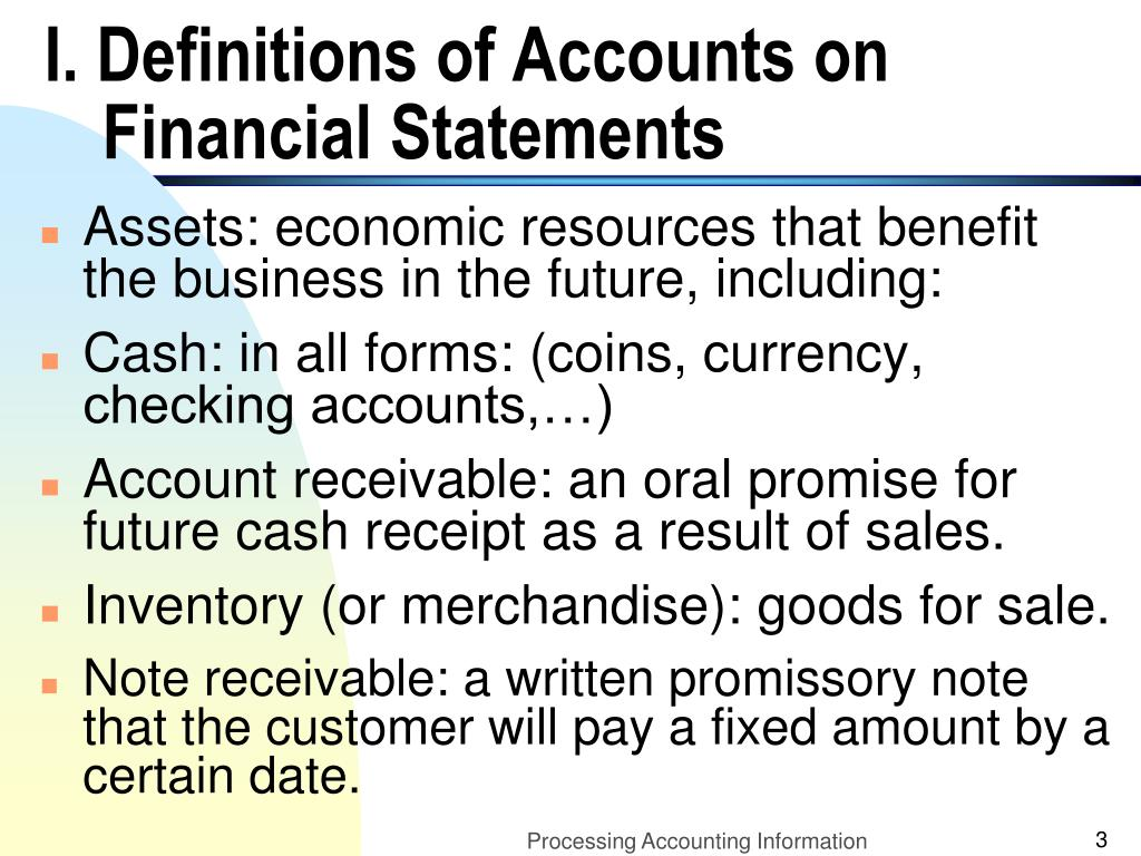 I. Definitions of Accounts on Financial Statements