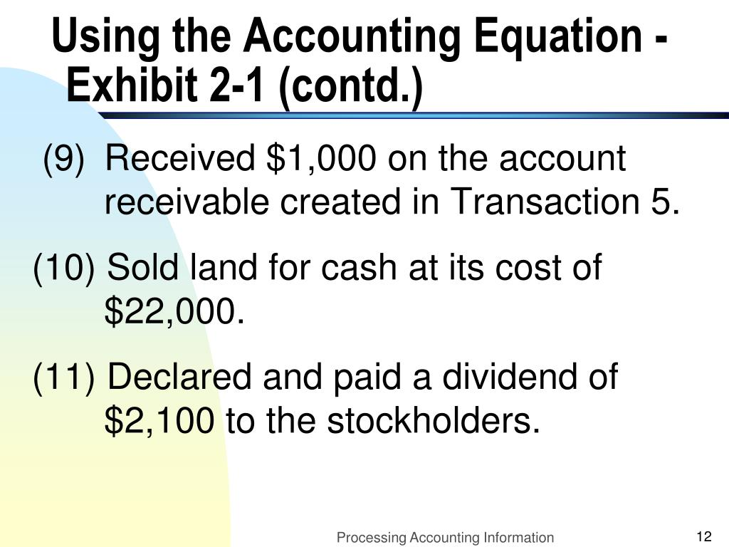 Using the Accounting Equation - Exhibit 2-1 (contd.)