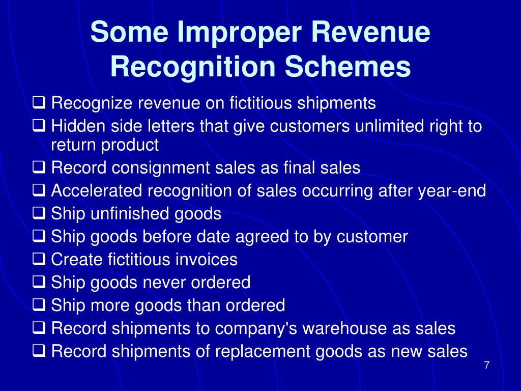 Some Improper Revenue Recognition Schemes
