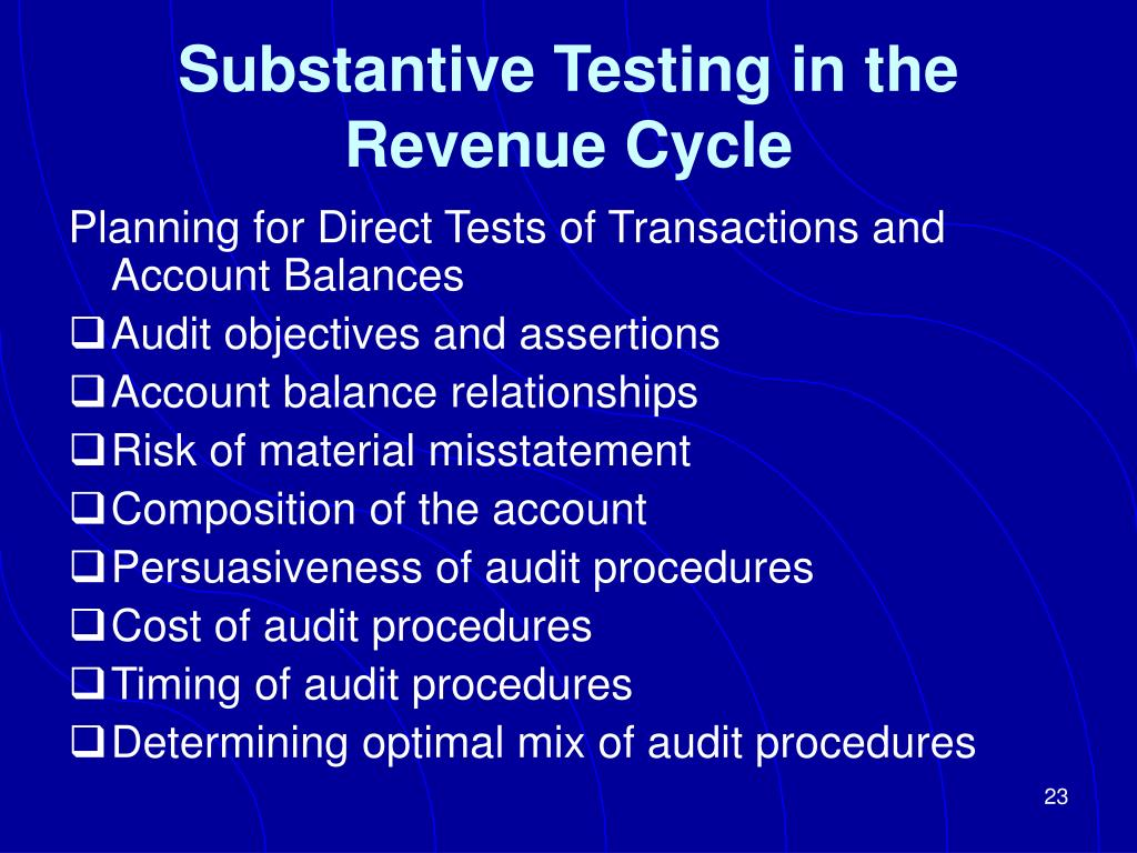 Substantive Testing in the Revenue Cycle