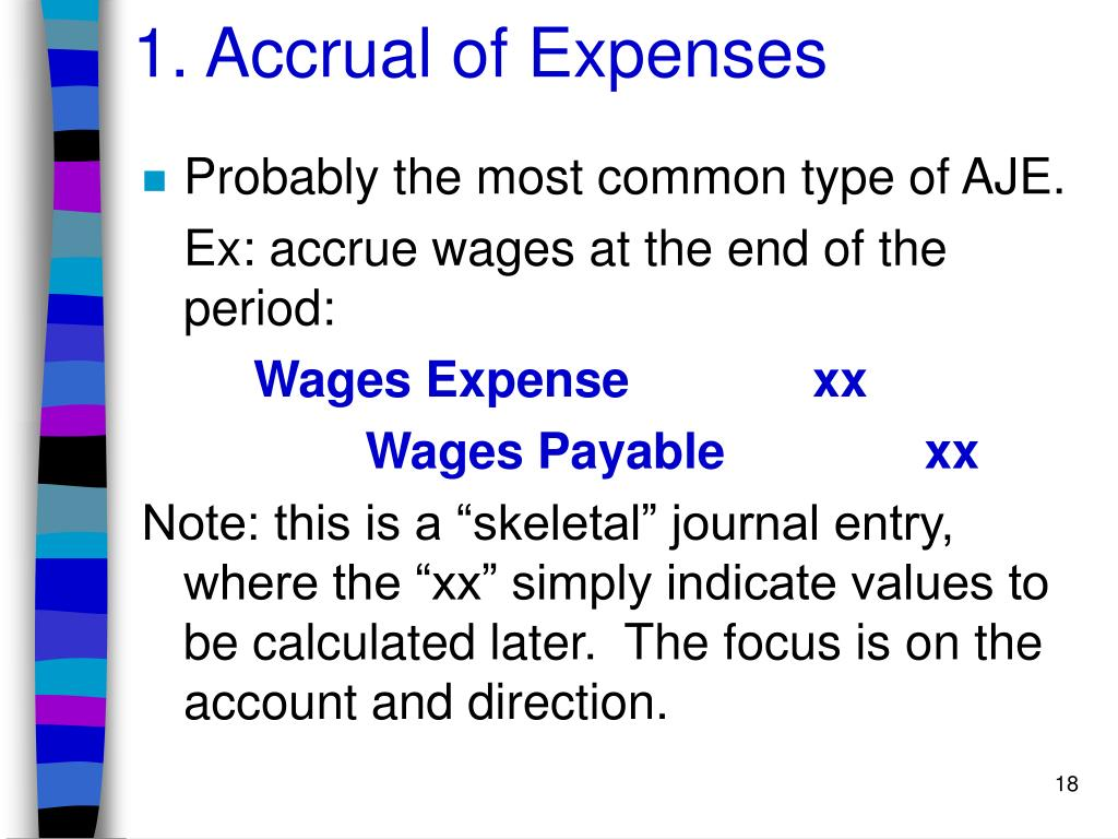 1. Accrual of Expenses