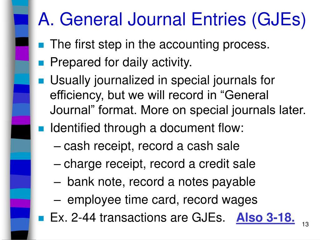 A. General Journal Entries (GJEs)
