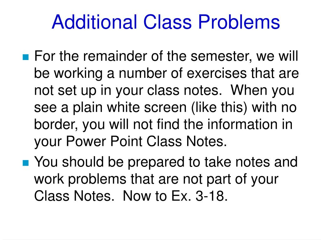 Additional Class Problems