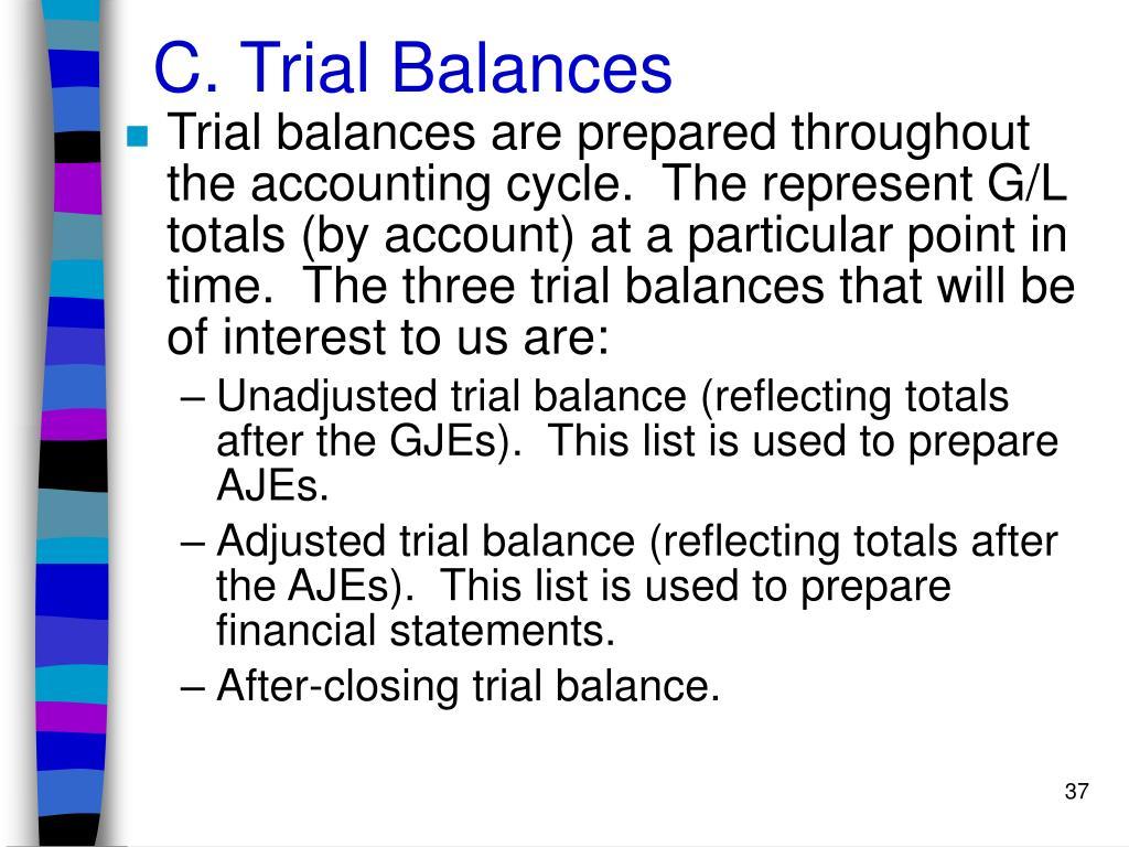 C. Trial Balances