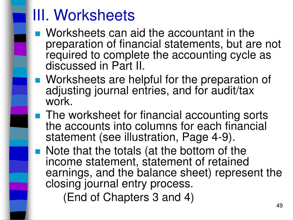 III. Worksheets