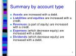 summary by account type