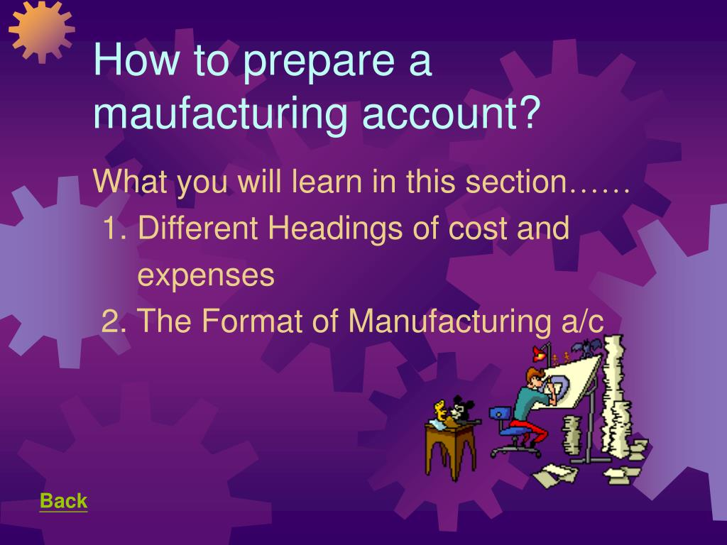 How to prepare a maufacturing account?