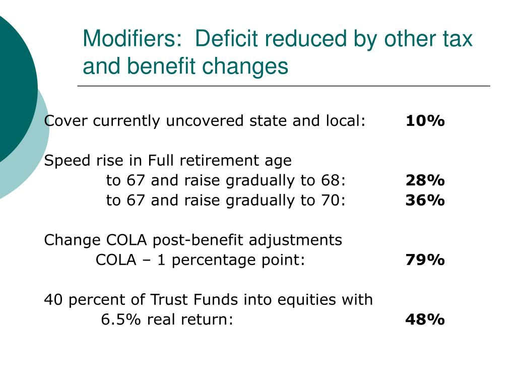 Modifiers:  Deficit reduced by other tax and benefit changes