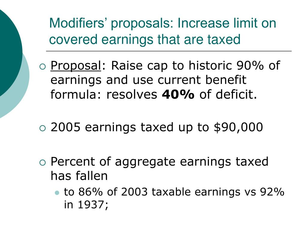 Modifiers' proposals: Increase limit on covered earnings that are taxed