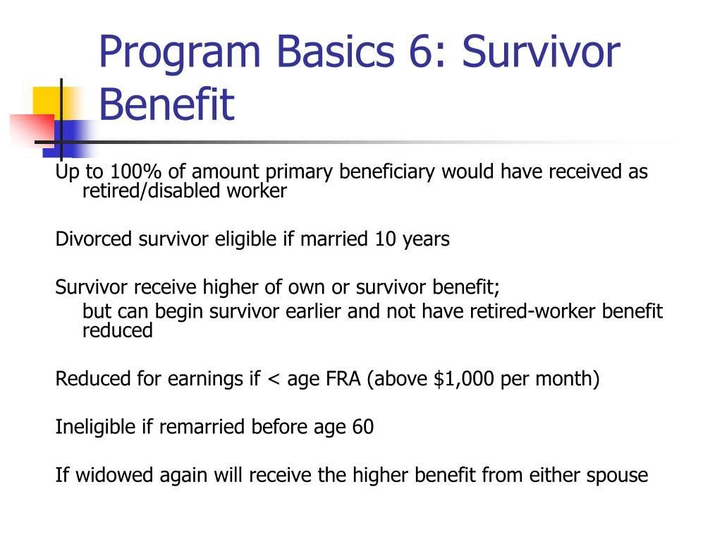 Program Basics 6: Survivor Benefit