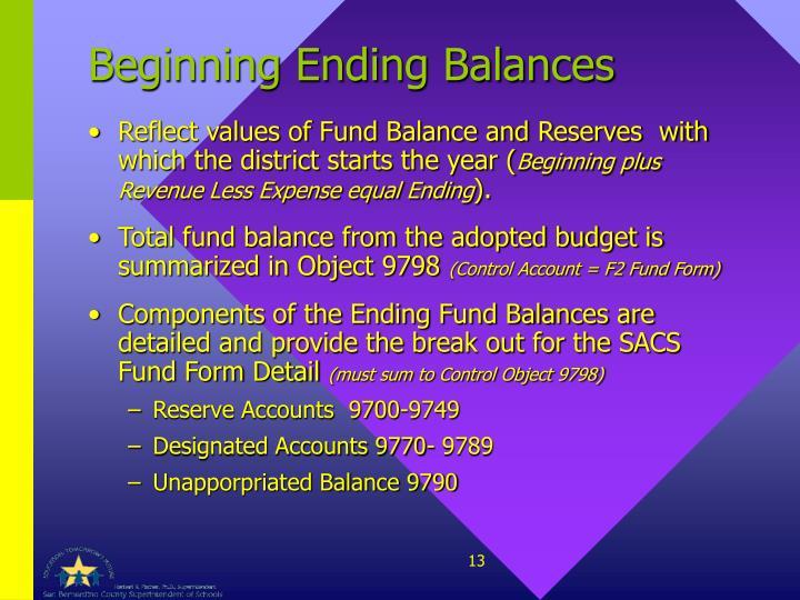 Beginning Ending Balances