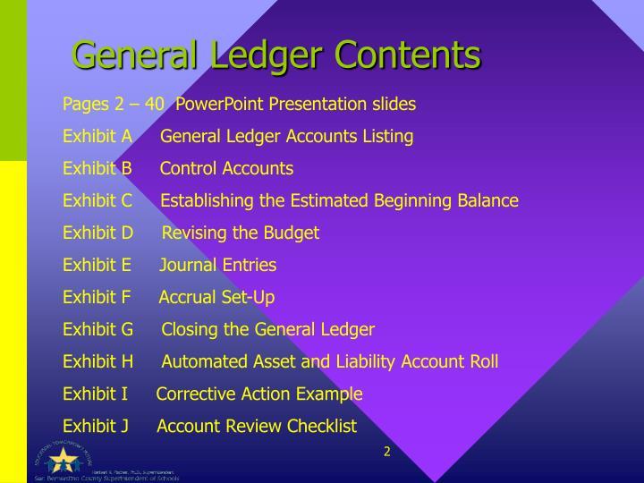 General Ledger Contents