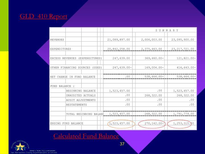 GLD  410 Report